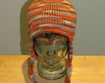 Hand Knit Ear Flap Aviator Hat 'fiesta orange'