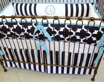Xavier Navy Aqua Crib Bedding