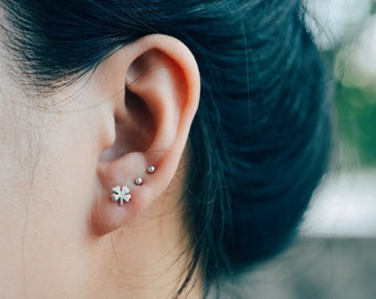 Four Leaf Clover Sterling Silver Earring Studs