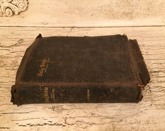 Vintage Tattered Holy Bible  - Perfect for Wedding or Gift - Simple Style