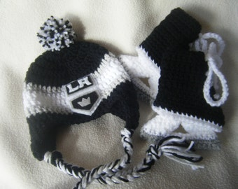Crocheted LA Kings Hockey Hat and Ice Skate Set - These Are Made to Order