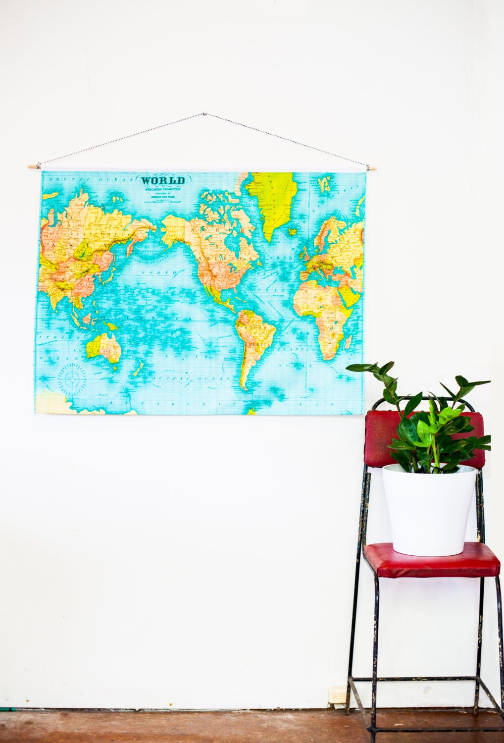 World map wall hanging education chart 86cm34inches x zoom gumiabroncs Image collections