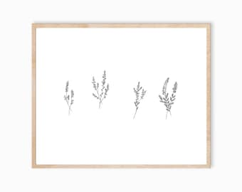 Heather Art, Heather Print, Lavender Print, Plant Art, Heather Painting, Plant Painting, Plant Decor, Lavender Artwork, Foliage Art