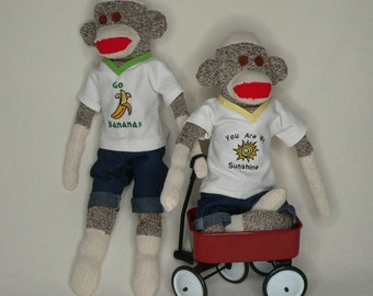 Sock Monkeys - Brothers, Sisters, Combo (We Can Add a Bow to One or Both) - Sock Monkey Doll