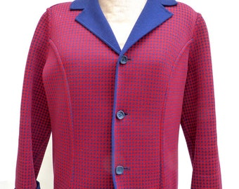 reversible jacket in red on one side and blue on the other dominant, vintage 60's houndstooth pattern.