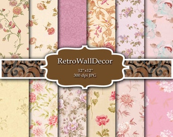 Floral Digital Paper Shabby Chic Papers Floral Patterns Scrapbook Floral Decoupage  Floral Backgrounds Paper Pack 12x12 Buy 2 Get 1 FREE