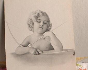CUPID & BOW PHOTO Black and White Sweet Innocent Curly Blond Cherub, Antique Victorian or Edwardian Child's Room Decor 6 x 7 Medium Stock