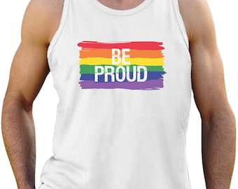 Be Proud Pride Parade Gay Rainbow Flag Singlet