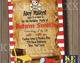 Pirates Birthday Invitation,Pirates,Tresure,Captain Hook,Map,Skeleton,Sea,Sailor,Boat,Anchor,Bird,Black Flag,Rope,Invitation,Boys,Girl