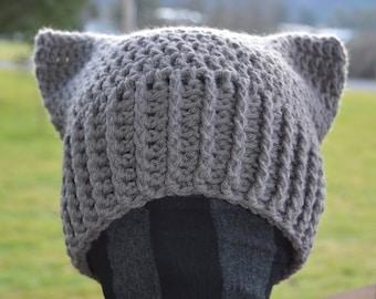 PATTERN - PDF DOWNLOAD - Crochet No-Sew Square Cat Hat Adult Size