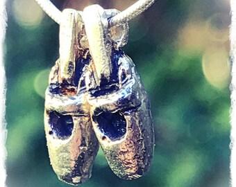 Silver Ballerina pendant. Silver Ballerina necklace. Silver Ballet shoes pendant. Silver Necklace Ballet Shoes.