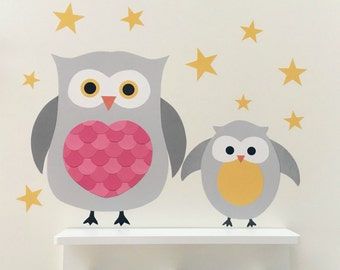 Owl Wall Sticker - owl decal - owl nursery decoration - owl nursery art -woodland nursery - woodland animals - forest bedroom - nursery art