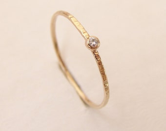 Diamond Ring, Delicate Diamond Engagement Ring, Thin Diamond Stacking Ring, 14k Gold Diamond, Hammered Diamond Ring, Simple Diamond Ring