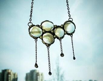 Stained Glass Cloud Necklace, Unique Rainy Clear Necklace, Funny Necklace, Lovely Necklace, Glass Necklace, Original Necklace