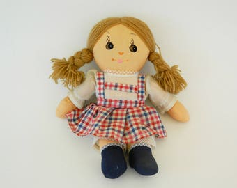 Vintage Rag Doll Girl, Collectible Doll,1980's  Rag Doll,Retro Gift,Retro Doll,Vintage Doll,Girl Doll,Handmade Doll,Fabric Doll
