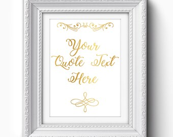 Custom Quote Print, Custom Quote Printable,  Personalized Print, Gold Printable, Personalized Typography Art, Personalized Gold Print
