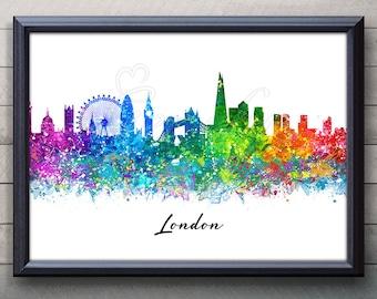 London Skyline Print Watercolor Art Poster Print - London Skyline Poster - London Skyline Wall Decor - London Skyline Watercolor Art