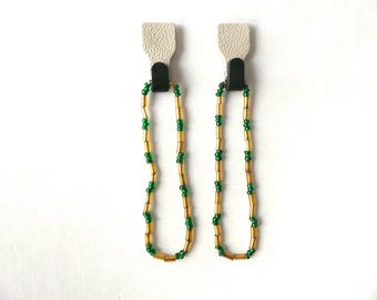 Black, White Leather with Green & Gold Bead Long Long Loop Earring