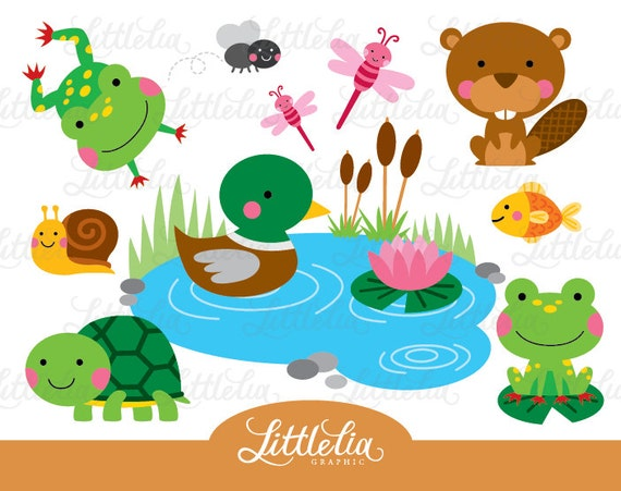 pond friend clipart frog and turtle clipart pond animal rh etsy com pond clip art duck pond clip art