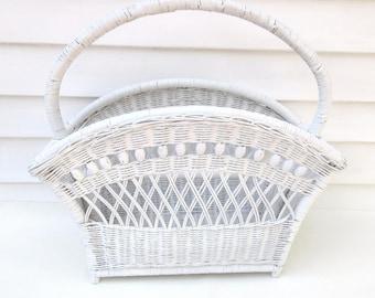 Vintage Wicker Basket   Magazine Rack   Large Basket with Handle   Wedding Card Basket   Wicker Bathroom Storage   White Wicker Card Basket