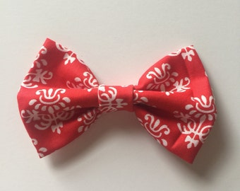 Red and white bow tie
