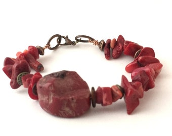 Bohemian Bracelet, Earthy, Red, Natural Stone, Rustic, Boho Bracelet, Earthy By Design