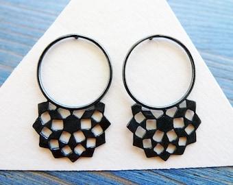 Black Mashrabiya Ring Stud No 1. Modern Geometry. Handmade Silver Lace Earrings. Architecture Inspired Design. Recycled Jewelry.