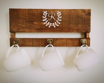 Personalized Wood Rack/ Kitchen Rack/ Organization/ Coffee Cup Holder/ Key Rack/ Housewarming/ Mother's Day/ Wedding/ Gift Idea