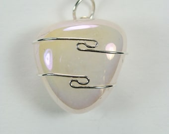 Angel Aura Rose Quartz wire wrapped Pendant #327