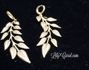 Vintage Brass and Fern Leaf Stamping Earrings