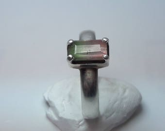 bi color tourmaline ring , watermelon tourmaline ring with 925 sterling silver , tourmaline ring with sterling silver  4.49 grams weight