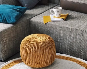 Crochet pouf mustard | Floor cushion Footstool Floor pillow Pouf ottoman Pouf Ottoman Home decor Bedroom decor Living room decor