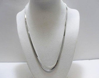 925 Silver Box Chain Necklace With Makers Mark / Italy Sterling Silver 19 Inch Unisex Necklace