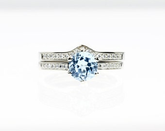 engagement ring set, Aquamarine ring, Diamond band, wedding ring set, Aquamarine engagement,  blue, pave, solitaire, diamond engagement,