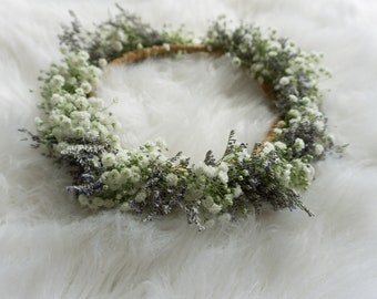 Fairies Breath Fresh Flower Crown - Babies Breath - White Flowers - Misty Blue Flowers - Fairy Goddess