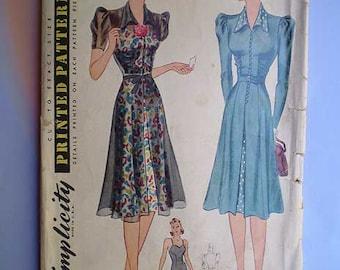 Vintage 40s Redingote Dress & Slip Pattern 32
