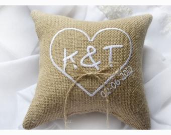Burlap wedding pillow, wedding ring pillow ,  ring bearer pillow ,Heart wedding pillow,  Custom embroidered ring bearer pillow (R1B)