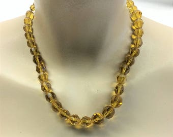1959 Christian Dior Amber Glass Beaded Necklace 1950s Vintage