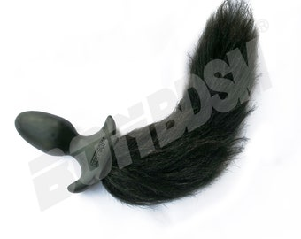 Black Dog Tail B**t Plug with long Faux Fur, A**l Plug Puppy Tail with Fur, Premium Silicone Pup Play