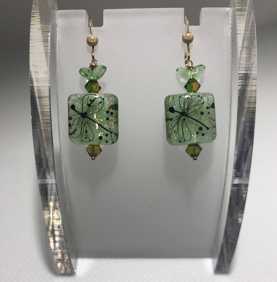 Lampwork Glass Beaded Earring Pierced Dangle  GoldfilledSquare Green Swarovski OOAK Gift for HerTeacher Teen BoHo