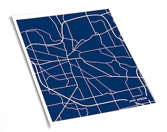 Ann Arbor City Map College Poster / University of Michigan Dorm Decor / 8x10 / Personalized colors