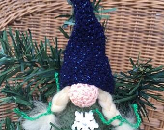 Scandinavian tomten tonttu nisse Christmas gnome crochet ornament Christmas decoration Christmas ornament amigurumi swedish gnome white hair