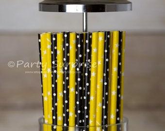 Bumblebee Straws Black Yellow Paper Straws Bumble Bee party decorations mason jar cake pop polka dot paper straws