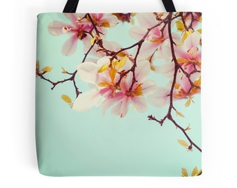 Magnolia Tote Bag, Pale Blue, Pink, Soft Pastel, Romantic, Photo Bag, Tree, Feminine, Market Tote, Floral Gift, Shabby Chic, Flowers, Spring