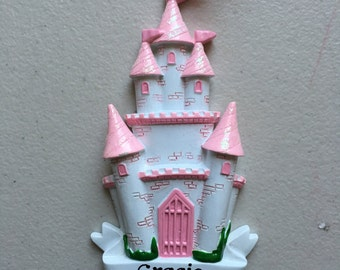 33% Off Disney Princess Castle Personalized Christmas Ornament - Baby Girl's First Christmas, Princess Party Favor