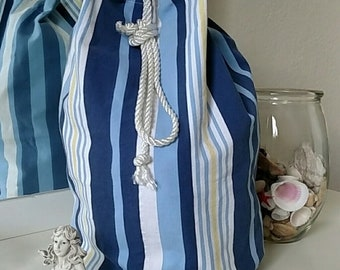 Nautical Stripe Beach Bucket Bag Handcrafted