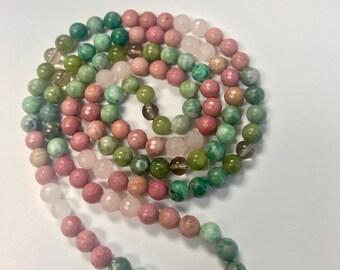 Jade + Rhodochrosite + Rose Quartz + Smoky Quartz Necklace