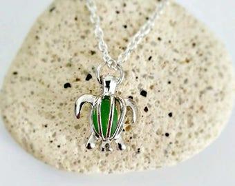 Green Sea Glass in Turtle Locket Necklace
