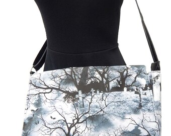 "USA Handmade Computer Bag Case  With  ""GRAVE YARD"" Pattern Messenger Bag With Adjustable Handle Purse, Cotton, New"