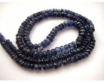 Blue Kyanite, Kyanite Beads, Faceted Rondelle Beads, Faceted Kyanite, 3mm To 5mm Each, 9 Inch Half Strand, 46 Pieces Approx